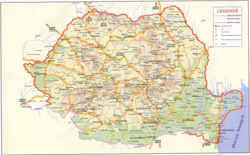 Kaart provincies Roemenie